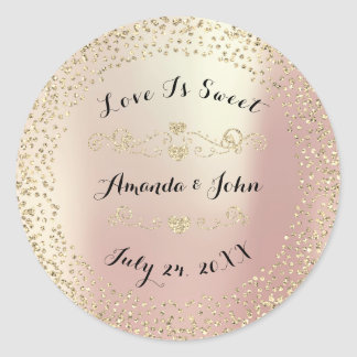 Gold Rose Glitter Save the Date Love is Sweet Round Sticker