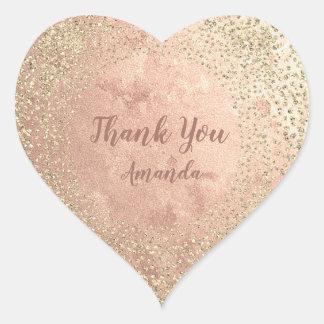 Gold Rose Glitter Skinny Blush Lux Heart Thank You Heart Sticker