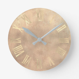 Gold  Rose Gold Copper Grungy Burlap Roman Numers Round Clock
