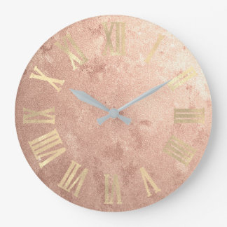 Gold  Rose Gold Copper Grungy Roman Numers Large Clock