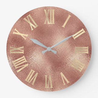 Gold  Rose Gold Copper Peach Glass Roman Numers Large Clock