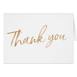 "Gold Rose Hand Lettered Wedding ""Thank you"" Card"