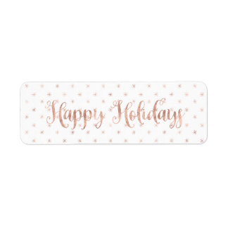 Gold Rose Happy Holidays Return Address Labels