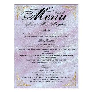 Gold Rose lavender Wedding Dinner Menu Thank you Postcard