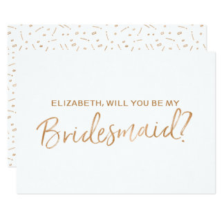 "Gold Rose Lettered ""Will you be my bridesmaid"" 13 Cm X 18 Cm Invitation Card"