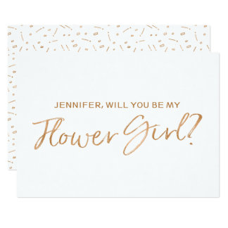 "Gold Rose Lettered ""Will you be my flower girl"" 13 Cm X 18 Cm Invitation Card"