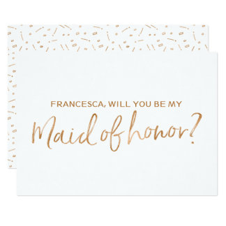 """Gold Rose Lettered """"Will you be my maid of honor"""" Card"""