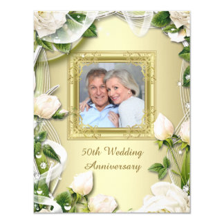 Gold Rose Photo 50th Wedding Anniversary Party Card