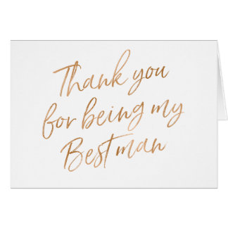 "Gold Rose ""Thank you for being my best man"" Card"
