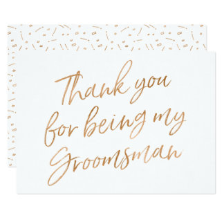 "Gold Rose ""Thank you for being my groomsman"" Card"