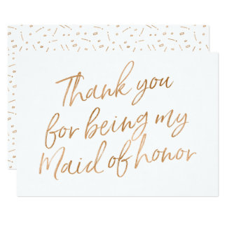 "Gold Rose ""Thank you for being my maid of honor"" Card"