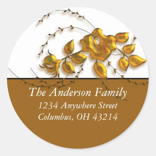 Gold Rose Vine Design - Return Address Labels Round Sticker
