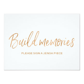 "Gold Rose Wedding ""Build memories"" Jenga Sign Card"