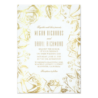 Gold Roses and Baby's Breath Wedding 13 Cm X 18 Cm Invitation Card