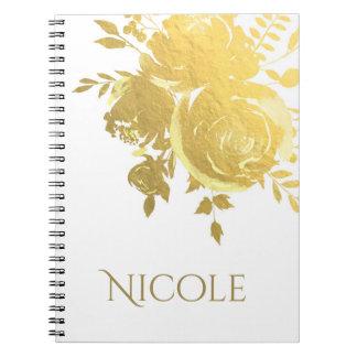 Gold Roses Faux Foil Elegant Modern Floral Glam Notebooks
