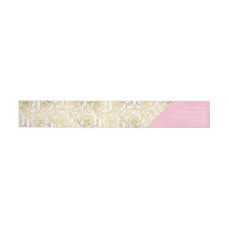 Gold Roses with Pink Wrap Around Label