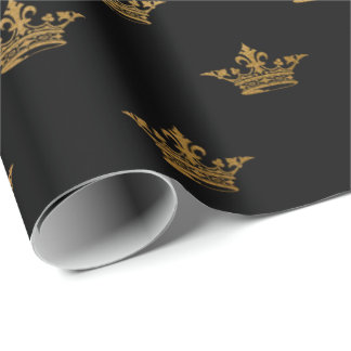 Gold Royal Black King Crown Heraldic Princess Wrapping Paper
