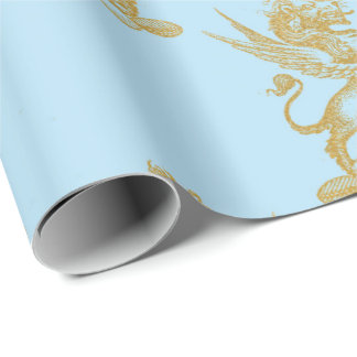 Gold Royal Calk Fairly King Blue Pastel Heraldic Wrapping Paper