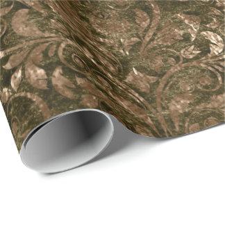 Gold Royal Damask Black Crushed Velvet Sepia  Glam Wrapping Paper