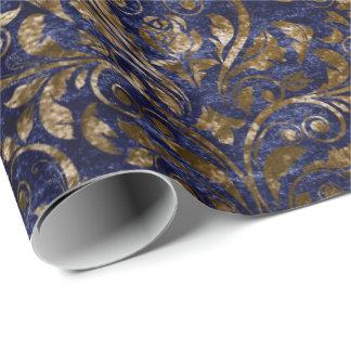 Gold Royal Damask Crushed Velvet Blue Navy Bronze Wrapping Paper