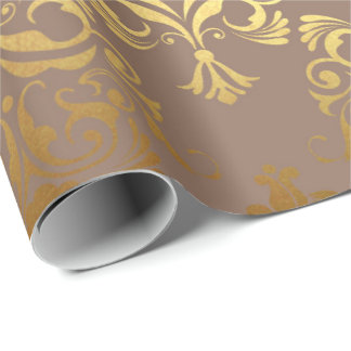 Gold Royal Damask Floral Ivory Beige Heraldic Wrapping Paper