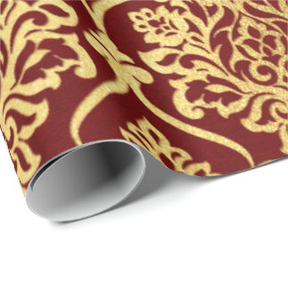 Gold Royal Damask Floral Maroon Burgundy Luxury Wrapping Paper