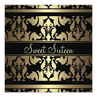 Gold Royal Damask Sweet16 Birthday Invite