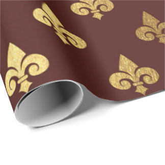 Gold Royal Fior De Lise Ornament Heraldic Burgundy Wrapping Paper
