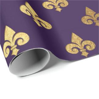 Gold Royal Fior De Lise Ornament Heraldic Indigo Wrapping Paper