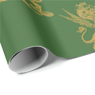 Gold Royal Lion Fairly King Green Grass Heraldic Wrapping Paper