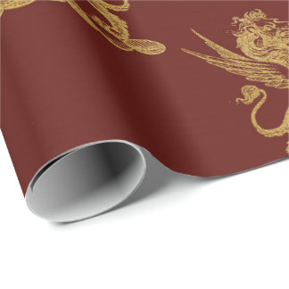 Gold Royal Lions Fairly King Maroon Red Heraldic Wrapping Paper
