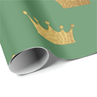 Gold Royal Mint Green King Crown Heraldic Princess Wrapping Paper