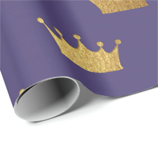 Gold Royal Purple Plum  King Crown Heraldic Prince Wrapping Paper