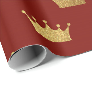 Gold Royal Red Burgundy King Crown Heraldic Prince Wrapping Paper