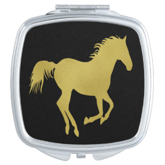 Gold Running Horse on Black Vanity Mirror