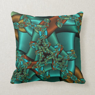 gold rust and teal fractal pillow