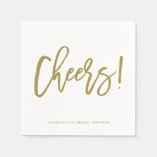 Gold Rustic Hand Lettering Cheers Wedding Napkin Disposable Serviette