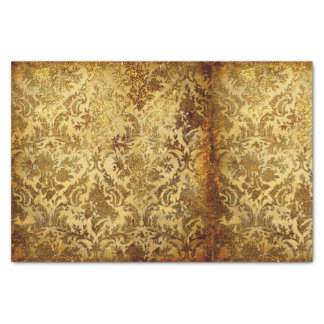 Gold,rustic,vintage,antique,damask,elegant,chic, Tissue Paper