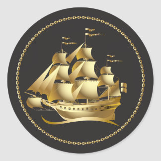Gold Sailboat Nautical Classic Round Sticker