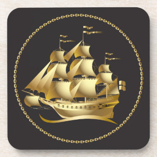 Gold Sailboat Nautical Coaster