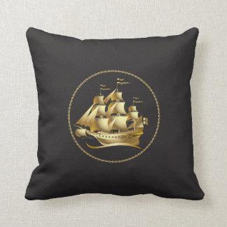 Gold Sailboat Nautical Cushion