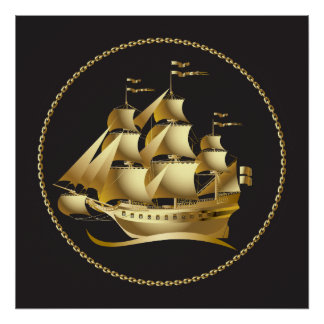 Gold Sailboat Nautical Posters
