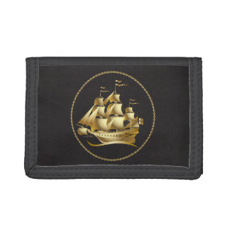 Gold Sailboat Nautical Tri-fold Wallet