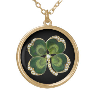 Gold Saint Patrick Shamrock Jewel with Pearls Pendant