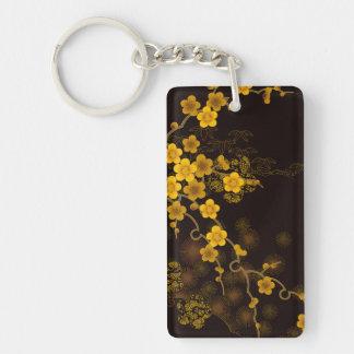 Gold Sakura Keychain