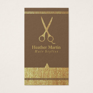 Gold Salon Hair Stylist Appointment Cards in Brown