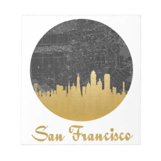 Gold San Francisco City Skyline Map Notepad