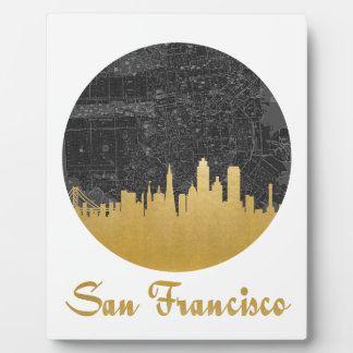 Gold San Francisco City Skyline Map Photo Plaque