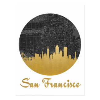 Gold San Francisco City Skyline Map Postcard
