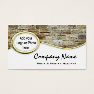 Gold Sandstone Masonry Logo Photo Business Cards